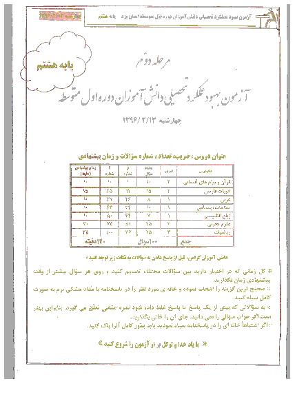آزمون بهبود عملکرد تحصیلی دانش آموزان پایه هشتم استان یزد | مرحله دوم: اردیبهشت 96
