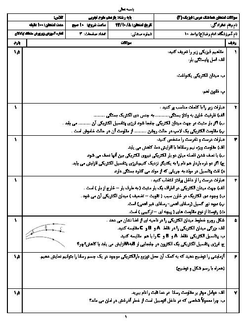 آزمون نوبت اول فیزیک (2) یازدهم تجربی دبیرستان امام رضا (ع) | دی 1397 + پاسخ