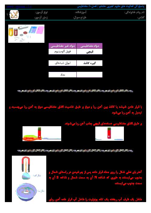 پاسخ فعالیت ها و آزمایش کنیدهای علوم تجربی هشتم | فصل 10: مغناطيس
