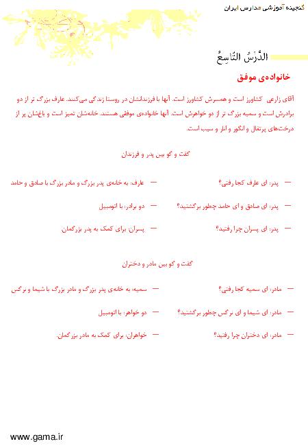 ترجمه متن درس و پاسخ تمرین های عربی هفتم| درس نهم: الْاسْرةُ النّاجِحَةُ