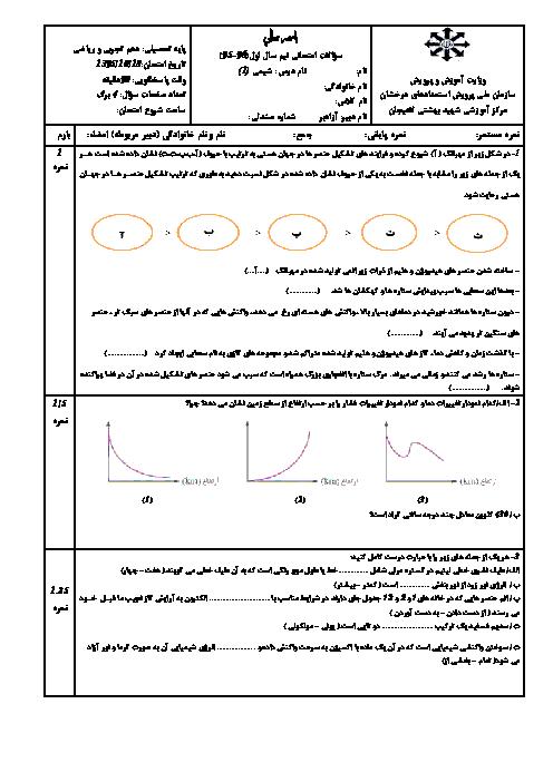 سوالات امتحان نوبت اول شیمی (1) پایه دهم رشته ریاضی و تجربی دبیرستان تیزهوشان شهید بهشتی لاهیجان | دی 95