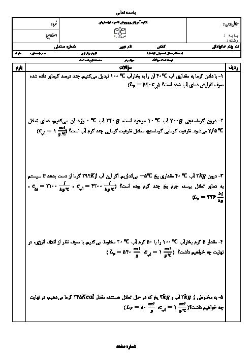 آزمونک فیزیک (1) دهم رشته ریاضی و تجربی | گرما