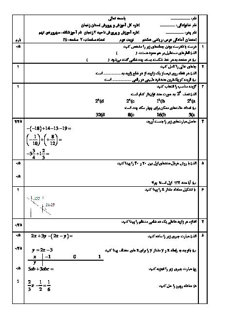 آزمون آمادگی  نوبت دوم ریاضی پایه هشتم مدرسه سهروردی تهم | خرداد 97
