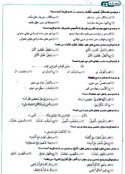 تستی یا پیشرفت تحصیلی عربی هشتم    الدَّرْسُ الثّاني: أهَمّیَّۀُ اللُّغَۀِ العَرَبیَّۀِ