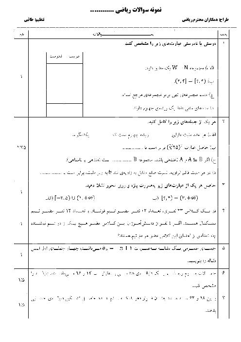 مجموعه نمونه سوالات آمادگی امتحان نوبت اول ریاضی (1) دهم رشتۀ ریاضی و تجربی | فصل 1 تا 4