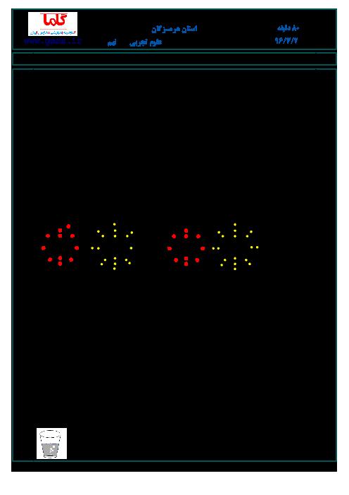 سؤالات و پاسخنامه امتحان هماهنگ استانی نوبت دوم خرداد ماه 96 درس علوم تجربی پایه نهم | استان هرمزگان