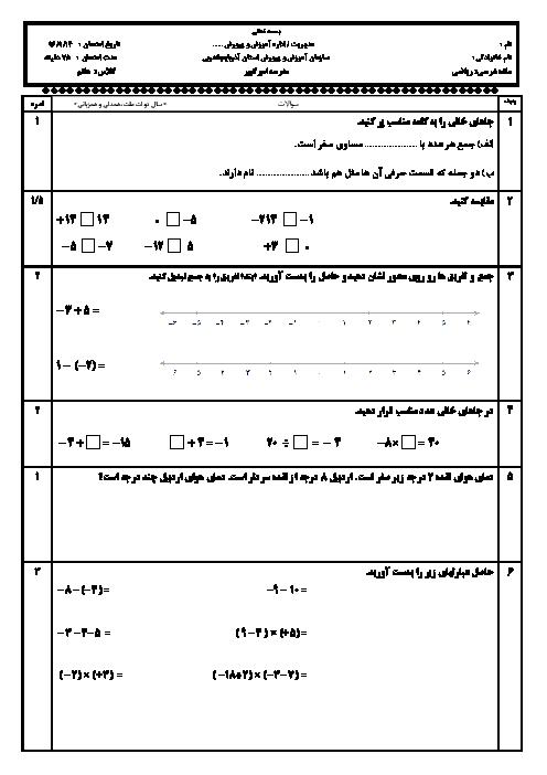 ارزشیابی مستمر ریاضی هفتم مدرسۀ امیرکبیر نقده | فصل دوم: عددهای صحیح