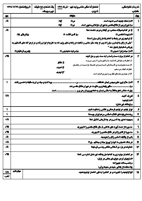 نمونه سوال امتحان آمادگی نوبت دوم درس آمادگی دفاعی پایه نهم - خرداد ماه سال 1396