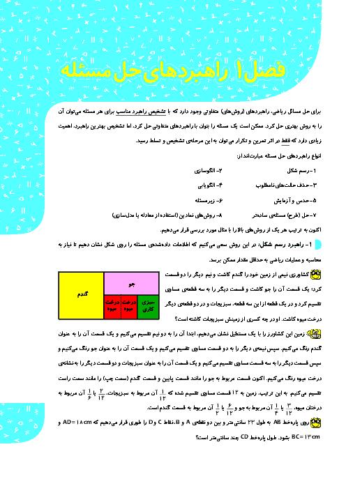 درسنامه و نمونه سوالات ریاضی هفتم با پاسخ تشریحی | فصل 1: راهبرد حل مساله