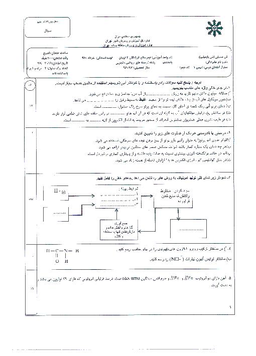 آزمون پایانی نوبت دوم شیمی (1) پایه دهم دبیرستان فرزانگان 2 تهران | خرداد 1397 + پاسخ