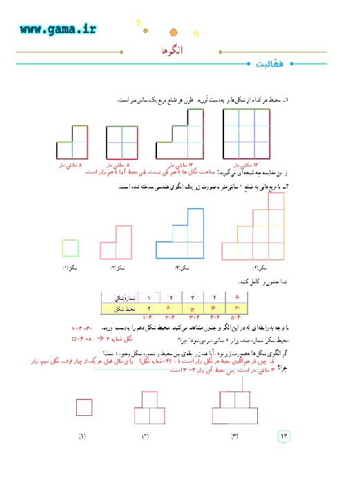 پاسخ فعالیت ها، کار در کلاس و تمرین ریاضی پنجم دبستان | فصل 1: درس الگوها