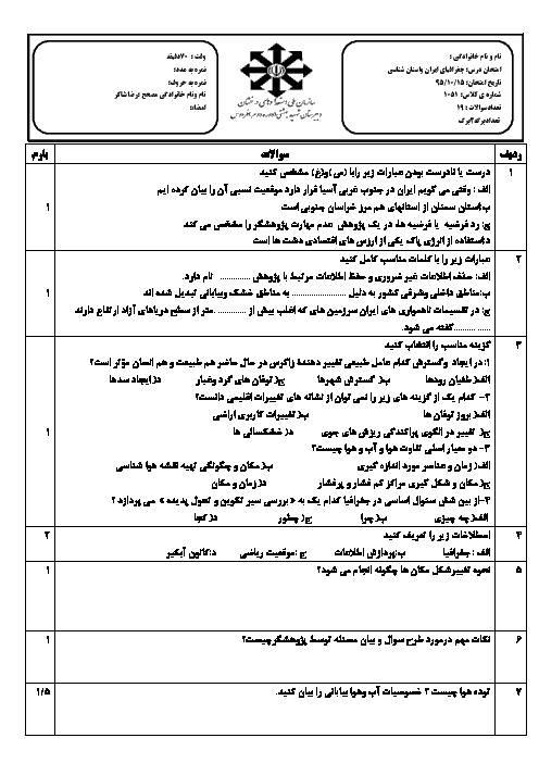 امتحان نوبت اول جغرافیای ایران و استان شناسی خراسان جنوبی پایه دهم دبیرستان شهید بهشتی | دی 1395