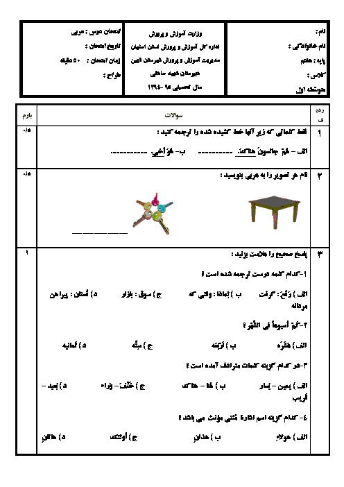 آزمون عربی پایه هفتم دبیرستان شهید صادقی نایین |دیماه 94