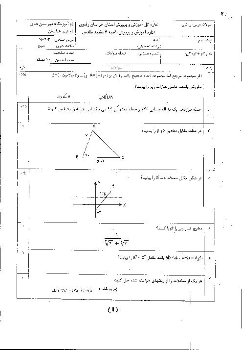 سوالات امتحان پایانی ریاضی (1) پایۀ دهم دبیرستان هدی ناحیه 6 مشهد   خرداد 96