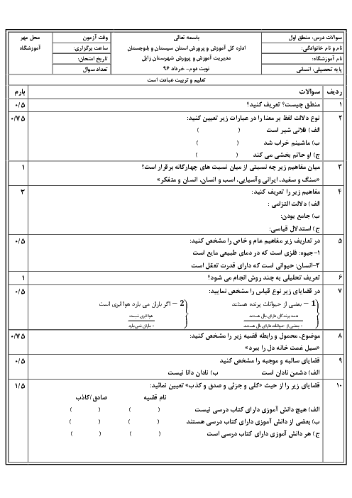 نمونه سؤال پیشنهادی امتحان نوبت دوم منطق پایه دهم رشته انسانی دبیرستان رضوان   خرداد 97