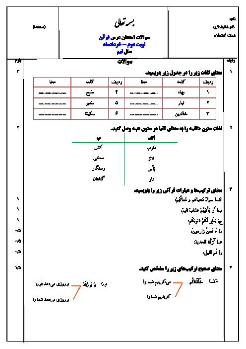 نمونه سوال استاندارد امتحان نوبت دوم قرآن پایه نهم با پاسخ (سری 3) | ویژه خرداد 95