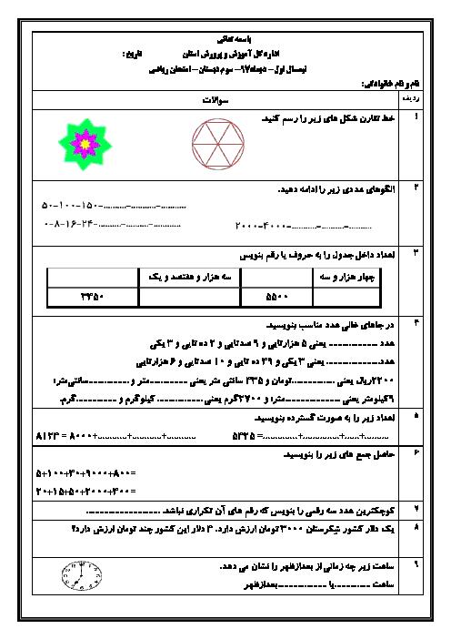 آزمون نوبت اول ریاضی سوم دبستان ابن سینا کبودر آهنگ | دی 97: فصل 1 تا 4