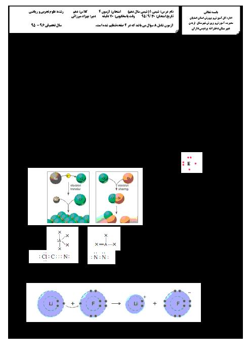 آزمون مستمر شیمی (1) دهم رشته رياضی و تجربی دبیرستان دخترانۀ پردیس داران - آذر 95