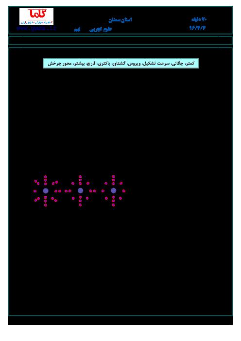 سوالات و پاسخنامه امتحان هماهنگ استانی نوبت دوم خرداد ماه 96 درس علوم تجربی پایه نهم | استان سمنان