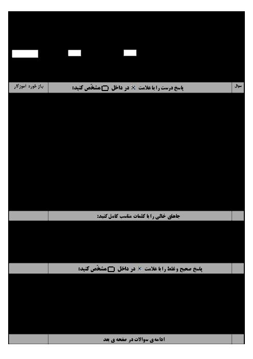 آزمون هماهنگ نوبت دوم ریاضی ششم دبستان منطقۀ امامزادۀ اصفهان | خرداد 96