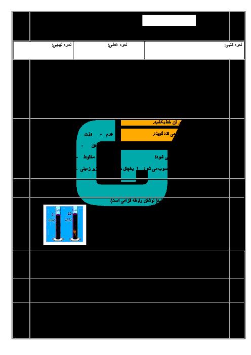 امتحان نوبت اول علوم تجربی هفتم  مدرسه پسرانۀ فتح المبین بناب | دی 96