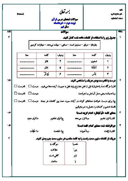 نمونه سوال استاندارد امتحان نوبت دوم قرآن پایه نهم با پاسخ (سری 4) | ویژه خرداد 95
