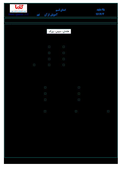 سؤالات و پاسخنامه امتحان هماهنگ استانی نوبت دوم خرداد ماه 96 درس آموزش قرآن پایه نهم | استان قم