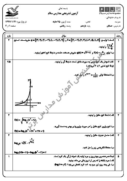 ارزشیابی تکوینی حسابان (1) پایه یازدهم دبیرستان سلام تجریش + جواب | 21 فروردین 97