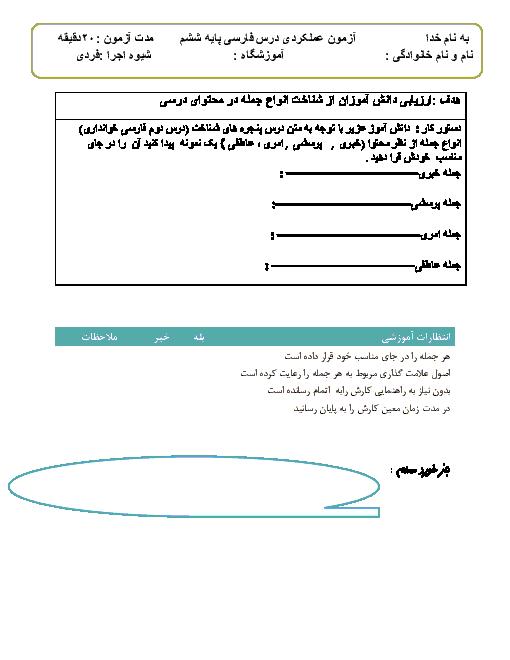آزمون عملکردی فارسی ششم دبستان    درس دوم: پنجره های شناخت