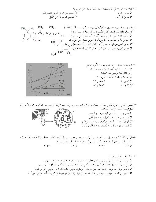 سوالات تستی شیمی (1) دهم رشته رياضی و تجربی با کلید |  فصل سوم: آب، آهنگ زندگی