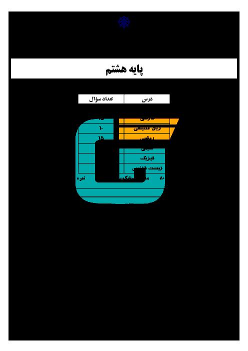 آزمون ادواری پایه هشتم دبیرستان استعدادهای درخشان شهید صدوقی یزد   فروردین 1395