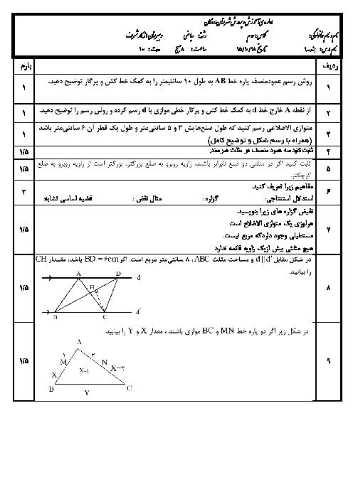 امتحان نوبت اول هندسه (1) دهم رشته رياضی دبیرستان ماندگار شرف اردکان | دی 95