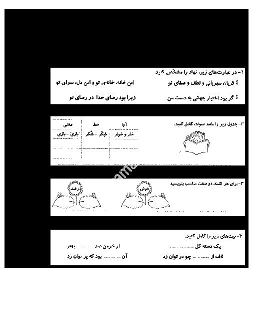 آزمون مداد کاغذی فارسی ششم دبستان شهید نظری یک   ماهانۀ مهر: درس 1 تا 4