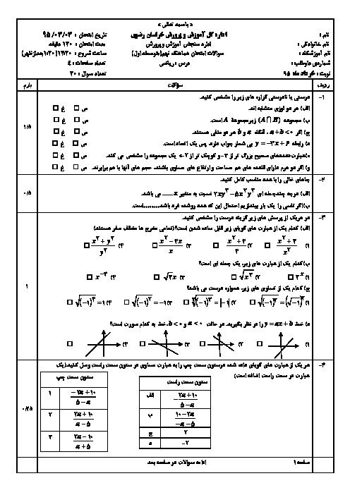 آزمون هماهنگ استانی نوبت دوم خرداد ماه 95 درس رياضي پایه نهم با پاسخنامه | نوبت عصر خراسان رضوي