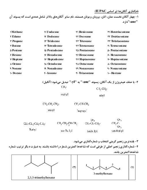 نامگذاری آلکانها (بر اساس IUPAC)