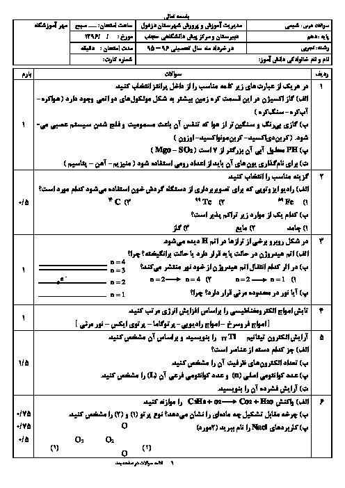 امتحان ترم دوم شیمی دهم دبیرستان حجاب دزفول | خرداد 1396