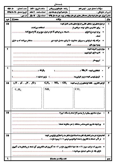سوالات امتحان نوبت اول شیمی (1) دهم دبیرستان محمد تقی جعفری مهاباد | دی 95