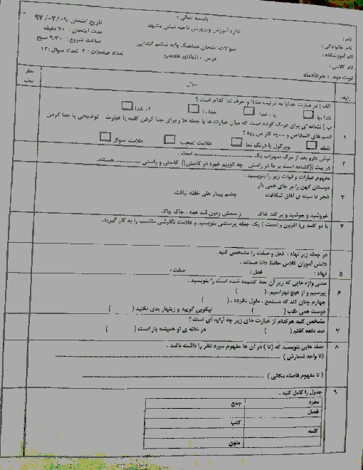 آزمون هماهنگ نوبت دوم انشای فارسی پایه ششم ابتدائی مدارس ناحیه 6 مشهد | خرداد 1397