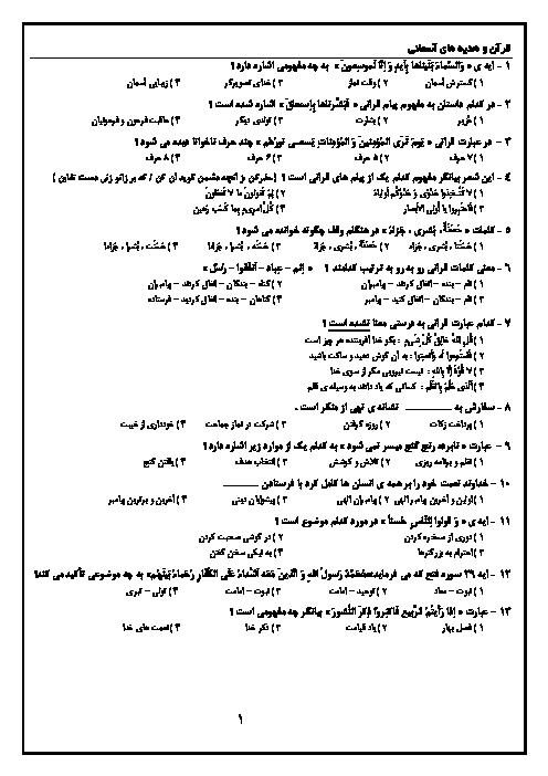 سوالات آزمون ورودی مدارس نمونه دولتی دوره اول متوسطه  استانهاي فارس، بوشهر، خوزستان و هرمزگان با پاسخ تشريحي | سال 95-94