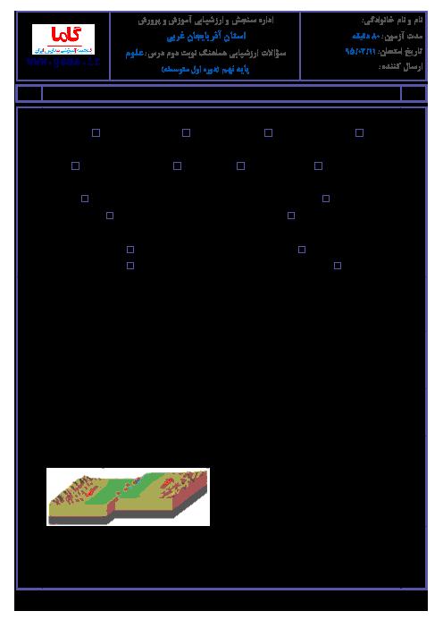 سوالات امتحان هماهنگ استانی نوبت دوم خرداد ماه 95 درس علوم تجربی پایه نهم با پاسخنامه | آذربایجان غربی
