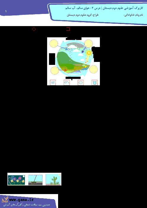 کاربرگ علوم دوم ابتدائی | درس 2- هوای سالم، آب سالم