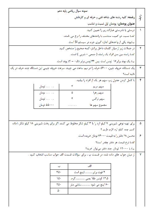 امتحان ریاضی (1) پایۀ دهم رشتههای فنی و حرفهای و کاردانش | پودمان 1- نسبت و تناسب