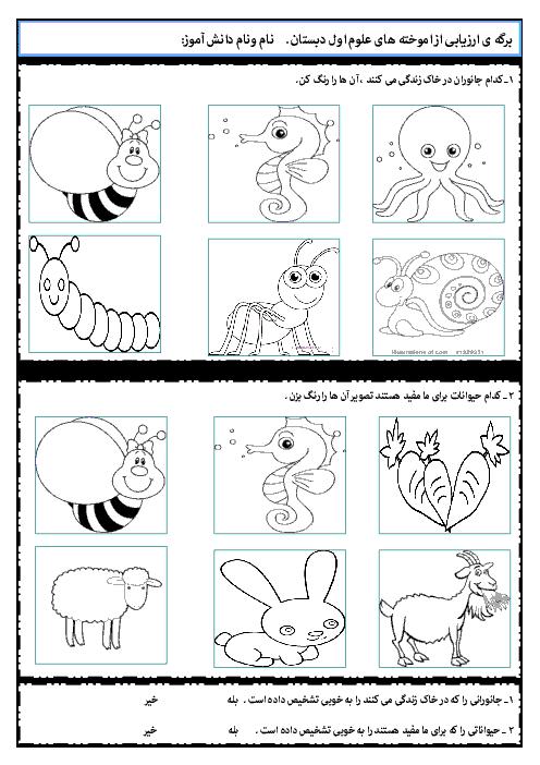 آزمونک علوم تجربی اول دبستان | فصل چهام: دنیای جانوران