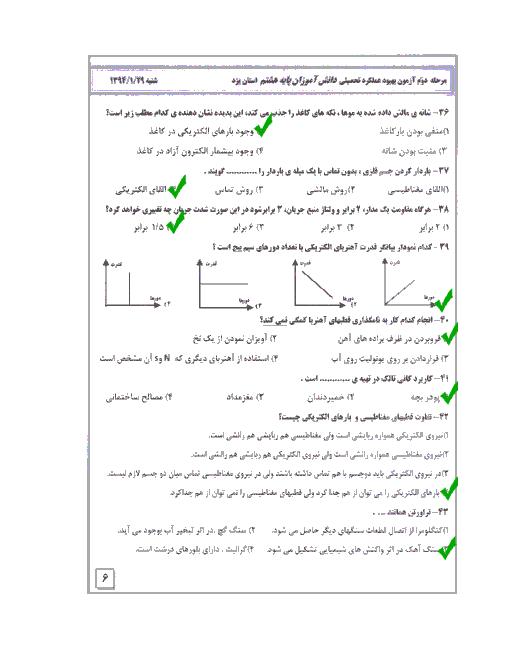 پاسخ تست های درس علوم آزمون بهبود عملکرد تحصیلی پایه هشتم |مرحلۀ دوم استان یزد