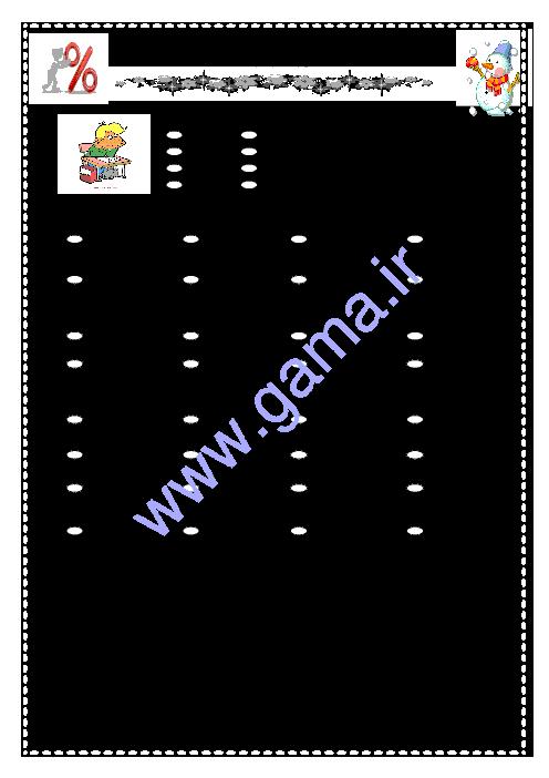 آزمون نوبت اول ریاضی پنجم دبستان امیرکبیر | دی 95