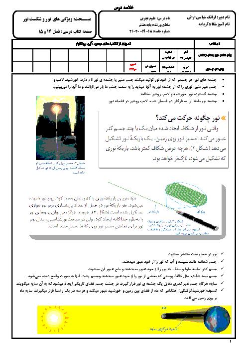 خلاصه درس علوم تجربی پایه هشتم | فصل چهاردهم: نور و ويژگی های آن