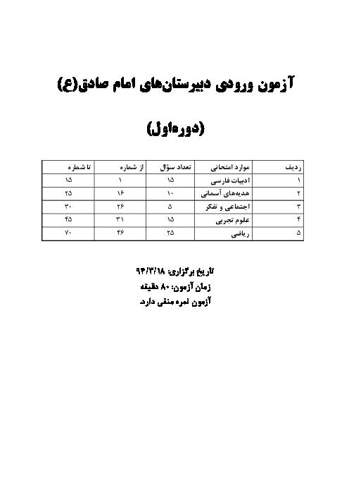 آزمون ورودی دبیرستان های دوره اول امام صادق (ع) اصفهان پایه ششم به هفتم | خرداد 1394