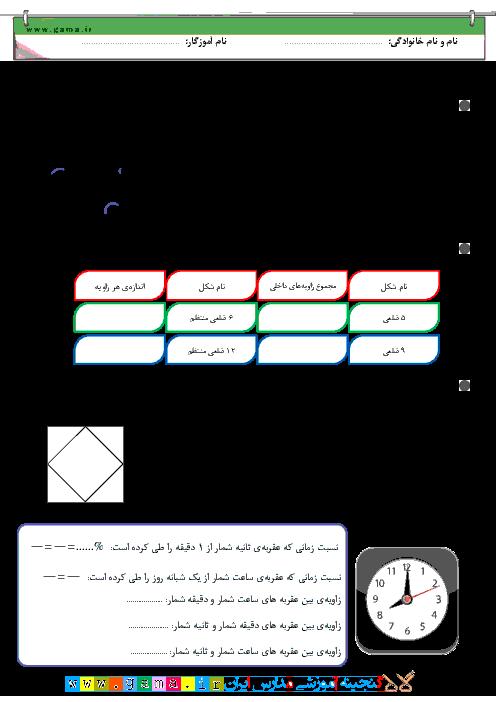 کاربرگ آموزشی پیشرفته مبحث اندازه گیری زاویه در ریاضی ششم