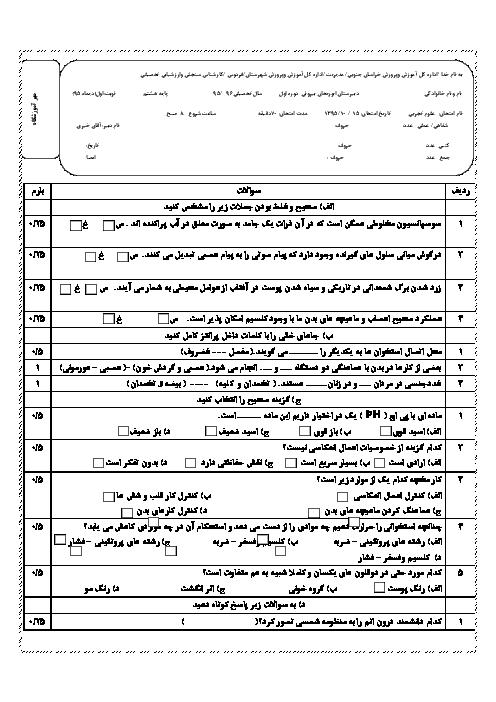 سوالات امتحان نوبت اول علوم تجربی هشتم دبیرستان ابوریحان بیرونی فردوس | دیماه 95