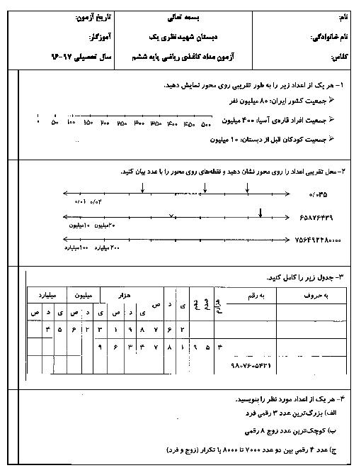 آزمون مدادکاغذی ریاضی ششم دبستان شهید نظری (1) | فصل 1: عدد و الگوهای عددی